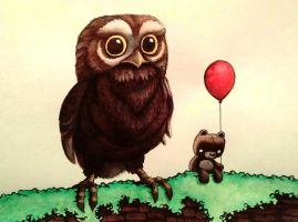 Teddy and the Great Tiny Owl by legumebean