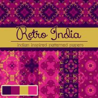 Free Retro India Patterned Papers by TeacherYanie