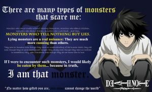 L Lawliet: Monster that scare me/Change the world by mickeyelric11