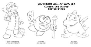 Nintendo All-Stars 3 Sketches by fryguy64