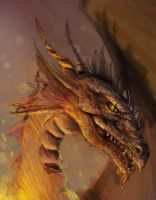 Dragon emerging from flames by jezebel