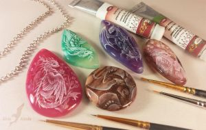 Dragon stone paintings by AlviaAlcedo
