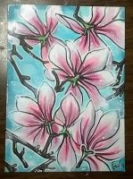 Magnolia Bloom- Ten Days of Trees ATC by LimehouseBlues