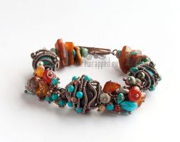 Turquoise and amber bracelet by ukapala