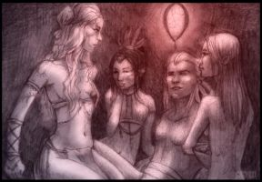 Native and his three wives by kungfubellydancer
