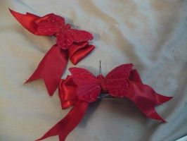 Red Butterfly hair bows by Rainbowkitty-Designs