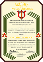 Colonial Warrior Certificate by ZFShadowSOLDIER
