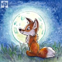 Fox in the Moon by thornwolf