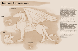 Isaldian Pseudodragon Reference Sheet by ThunderboltFire