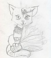 White Egytptian Kitty - Sketch by Starrydance