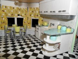 Retro Dollhouse WIP: Kitchen DONE right side by kayanah