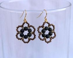 Serpentine flower earrings E964 by Fleur-de-Irk