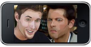 Destiel selfie by UndertakerisEpic
