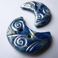 GLOW Swirl Crescent Buttons by che4u