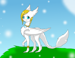 Me in my Angeldragon form by HeroHeart001