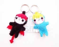 Devil and Angel Keychain by CosmiCosmos