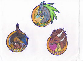Character Buttons: Samantha, Manix, Bates by spyroid101