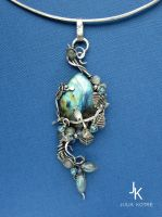 Silver pendant Mystery of the forest lake by JSjewelry