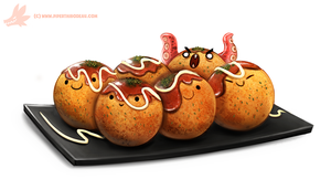 Daily Paint #1049. Takoyaki (Octopus Balls) by Cryptid-Creations