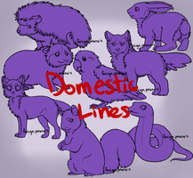 8 'Domestic' Animal Linearts by foreign-potato