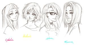 the girls (without color) by DictatorCat