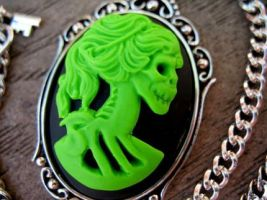 Lime Skull Goddess Cameo by Horribell-Originals