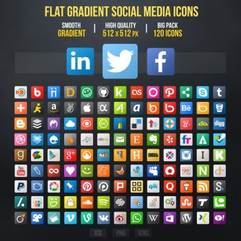 Flat Gradient Social Media Icons by limav