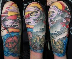 Ghost Ship Halfsleeve by ChrisNettleTattoo