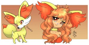 Fennekin And Fennekin Girl by Joakaha