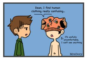 Human clothing is confusing by MrsDory