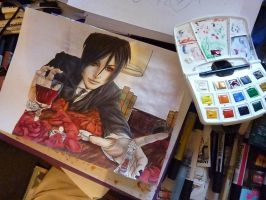ART in progress longing* - Ayla as Sebastian* by MissSebasuchan