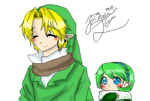 Link and Saria in winter by stella-stellita