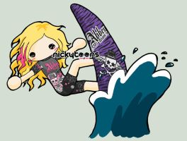 Avril Lavigne Surfing by NickyToons