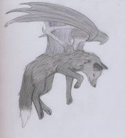 Winged Silver Fox request by CrimsonMoon-Wolf