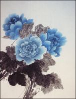 Blue Peonies by Dragon-Koi