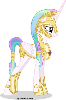 Princess Celestia going to war with helmet by Vector-Brony