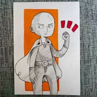 Inktober2016 #04 - Saitama (One Punch Man) by Animizuu