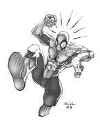 spidey sketch b+w by ErikVonLehmann