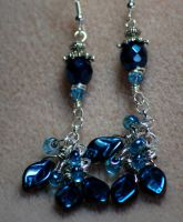 Blue Glass Leaves earrings by GardenGateBotanicals