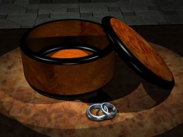 3D Wooden Lacquered Box with Rings by AskGriff