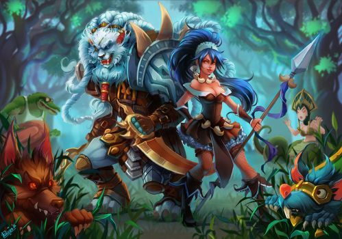 Rengar and Nidalee by Philiera