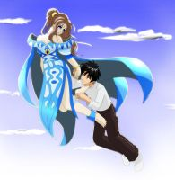 Belldandy and Keichi by hect06