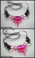 Pink and Black Gem Necklace by Natalie526