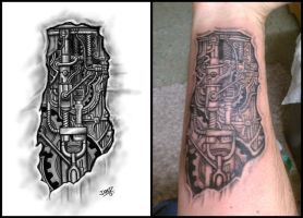 Biomechanical Forearm Tattoo by Jared1481