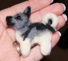 Needle Felted Elkhound Pin by The-GoblinQueen