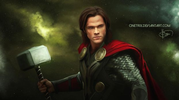 Sam Winchester as Thor // digital painting by cinetrix