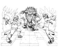 Mario and Luigi VS Bowser lineart by MatiasSoto