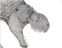 T rex pen and ink by pyramidrus