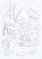 Tidal wave, free willed sketch by Winged-Dragoness