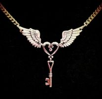Flying Winged Key Necklace by Horribell-Originals